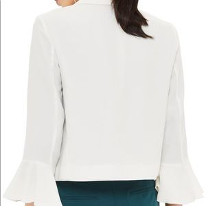 Topshop Jackets & Coats - TOPSHOP White Flare Sleeve Cropped Blazer